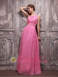 Rose Pink Empire One Shoulder Floor-length Chiffon Beading Prom / Evening Dress  http://www.fashionos.com  It features a gorgeous one shoulder bodice with the ruching and a waistband characterized by the embellished beadings that nakes the design so elegant.The single strap is also heavily embellished and crosses the open back at the shoulder. The floor-length skirt definitly reveal your slim figure.The zipper up closure shows your beautiful back and finishes this stunning