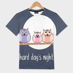 4158dd01c «Hard day's night illustration with owls» Men's All Over T-Shirt by Inga  Linder-Kopiecka