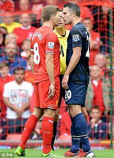 Steven Gerrard clashes with Robin van Persie