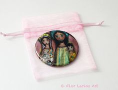 Nativity Night   Pocket Mirror Original Art by Flor by FlorLarios, $8.00