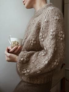 Sweater No. 2 is a chunky sweater with small, feminine bubbles, as the little extra touch. The sweater can be knit with either long or short sleeves – both fluffy – and beautiful ribbed hems. Sweater Knitting Patterns, Knitting Designs, Knit Patterns, Dress To Impress, Love Fashion, Knitwear, Couture, My Favorite Things, Crochet