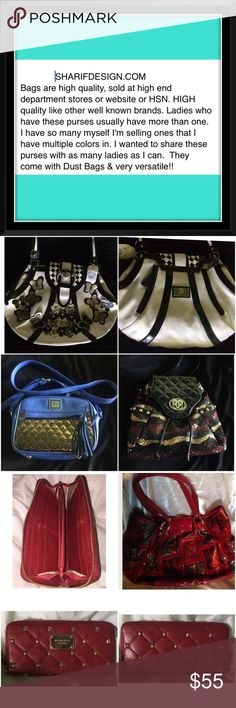 Sharif Purses in my closet All pictures with the exception of the 3rd one are of Sharif Bags I have not yet listed. The red bag in the 3rd picture is listed with a Michael Kors wallet. You can see they come in many shapes and sizes. I get complimented on my purses wherever I am and want to know where they can get one. I've had ladies offer to buy my purse that I'm using at the time. I have Coach, Michael Kors and other high end brands but the Sharif are my favorite. I just want to educate my…