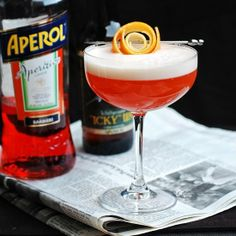Hoperol Flip cocktail--IPA, Aperol, gin. Champagne is boring; ring in 2014 with beer cocktails!