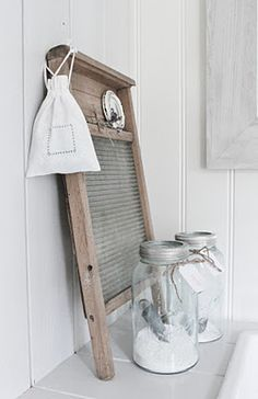 old style wash board and pretty jars - white