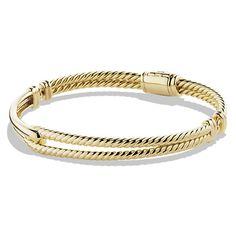 David Yurman Petite Pavé Labyrinth Single-Loop Bracelet in Gold (18,515 PEN) ❤ liked on Polyvore featuring jewelry, bracelets, accessories, jewels, bracelets & bangles, 18k gold bangle, gold hinged bracelet, 18k bangle, bangle bracelet and yellow gold bangle bracelet