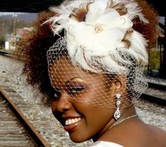White and Gold Wedding. Gold Birdcage Veil and Feather Fascinator. natural hair bride with birdcage veil
