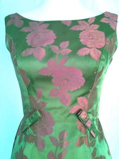 60s Iridescent Pink and green Jacquard Satin Party Dress. I would wear this to sorority vintage tea event! 1908!