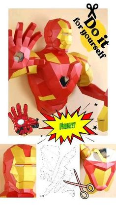 Make your own Tony Stark. Free PDF template Iron Man Diy For Men, Diy For Kids, Crafts For Kids, Kids Origami, Origami Cat, Man Crafts, Crafts To Make, Iron Man Party, 3d Templates