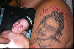 40 Ridiculous Tattoo Fails That Are So Bad They're Hilarious I made a promise to myself a long time ago that I would never get someone's face tattooed on my… Tattoo Fails, Epic Tattoo, Get A Tattoo, Lord Voldemort, Worlds Worst Tattoos, Foto Fails, Really Bad Tattoos, Crazy Tattoos, Bad Tattoos