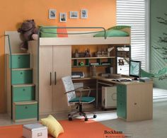 Kids Loft Bed with Computer Desk, Wardrobe & Storage, Many Designs & Colours Available  $1549