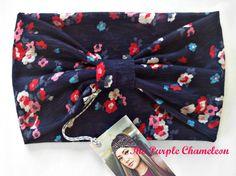 Navy Blue Floral Turban Head Wrap WRAPsody  by ThePurpleChameleon, $16.00    #boho #headwrap #turban #fashion #springfashion #GetSpotted