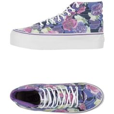 Vans Sneakers ($84) ❤ liked on Polyvore featuring shoes, sneakers, purple, vans shoes, round cap, wedge trainers, floral wedge shoes and floral sneakers