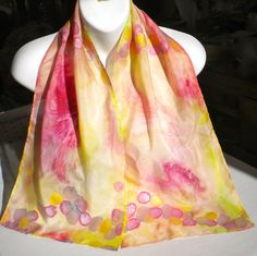 (Glamorous/ Pink Cloud, Canary Yellow SILK SCARF, with Iridescent Accents/ Hand-Painted Silk Scarf by NYC artist Joan Reese/100% Silk) ... I gave this to my mom for Christmas; she LOVES it. Joan is extremely talented.