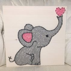 This adorable elephant would be a sweet addition to your babys nursery or childs bedroom! Or add it to your elephant collection!  Please specify pink or blue in the notes!  Size is 11 by 11. You choose the wood stain (gray, dark brown, light brown, or white) and string colors. A sawtooth hanger is added to every board.  Shipping overages will be refunded.  Thank you for checking out my listing! You can find more at my Etsy shop- www.KiwiStrings.etsy.com