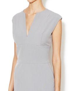 Gabardine Split Neck Sheath Dress from Dress Shop: Work Dresses on Gilt