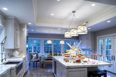"""Another kitchen with Grosvenor pendant lights (my fav) and 3"""" marble counters!"""
