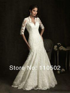 fabulous empire waist half sleeve lace wedding dress 2013, adorable!