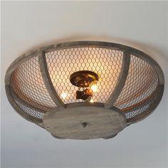Chicken Wire Basket Ceiling Light