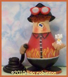 INSTANTLY Download pdf epattern fireman recycled Light Bulb gourd SMOKIN JOE fire fighter hose dog ofg prim chick painting pattern 772