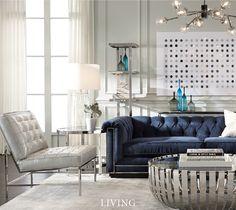 Indigo sofa with silver nailheads, so glam. Mitchell Gold + Bob Williams: Classic Modern Home Furnishings