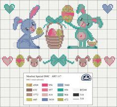 El blog de Dmc: Diagrama de punto de cruz de Pascua Dmc Cross Stitch, Cross Stitch Freebies, Cross Stitch For Kids, Cross Stitch Baby, Counted Cross Stitch Patterns, Cross Stitch Designs, Cross Stitching, Cross Stitch Embroidery, Easter Cross