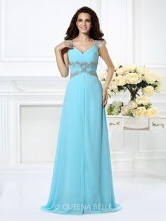 A-Line/Princess V-neck Sleeveless Beading Floor-Length Chiffon Dresses - Prom Dresses - Occasion Dresses - QueenaBelle.com