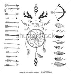 Vector Tribal design elements, aztec symbols, arrows, dream catcher, floral, ribbon, horns, native american, indian feather, bow with arrows isolated. Hand drawn tribal, ethnic elements