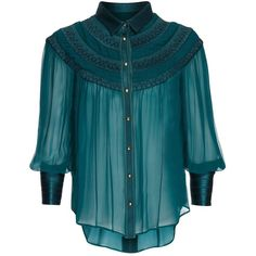 Richards Radcliffe - Belgravia Silk Blouse Peacock ($535) ❤ liked on Polyvore featuring tops, blouses, sleeve blouse, blue blouse, peacock blouse, smocked top and pintuck top