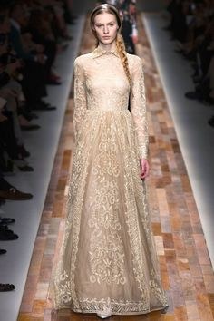 2013 Valentino Lace High Neck Long Sleeved Ball Gown