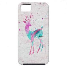 Pink and Turquoise Cute Deer Animal Watercolor Art iPhone 5 Case $44.95