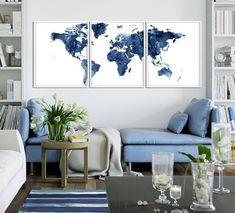 World Map Print World Map Watercolor Set of 3 World Map   Etsy