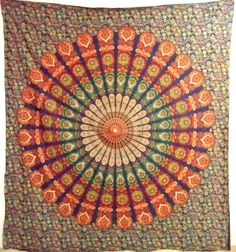 """""""Colorful screen printed cotton bed sheet, tapestry, throw, wall hanging.Radiant shades of vibrant color in a beautiful traditional pattern make for a very majestic and beautiful tapestry"""