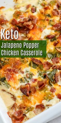 Easy Keto Jalapeno Popper Casserole - This hearty filling casserole is the perfect family dinner recipe that everyone will love! Kid-friendly, low carb chicken recipes great for meal prep too! dinner recipes with chicken Jalapeno Popper Casserole Low Carb Chicken Recipes, Cooking Recipes, Healthy Recipes, Atkins Recipes, Low Carb Crockpot Recipes, Recipes With Shredded Chicken, Diabetic Dinner Recipes, Easy Low Carb Recipes, Pasta Recipes