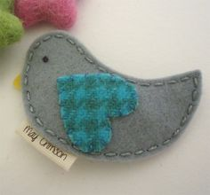 NO SLIP Wool felt hair clip Betty the bird grey by MayCrimson, $8.00