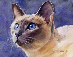 """""""EU RONRONO. LOGO EXISTO"""" – DO LIVRO DE RACHEL PARKER """"CATITUDES"""".       Cat art by Rachel Parker - Watercolor.     Captar a sutileza da al..."""