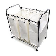 Large Laundry Sorter Honey Can Do Srt01235 Chrome Heavy Duty Triple Laundry Sorter