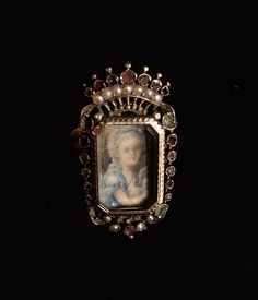 Bague Marquise En Or 18k Ornée d'Une Miniature Sur Ivoire, 19ème Siècle