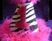 Zebra Party hat - Custom Party hat...  Babies Princess1st 2nd 3rd ZEBRA Birthday Party HAT with Hot Pink Marabou. $19.99, via Etsy.