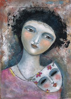 Free Shipping Painting Print  Modern Folk Art  Expressive woman Mask