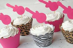 Rockstar Themed Party Pink Guitar Cupcake Toppers Girls Rocker Glam Cupcake Toppers Animal Print Tween Birthday Party - Set of 12. $12.00, via Etsy.