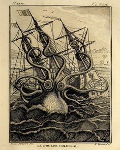 Giant Octopus Vintage prints old prints Nautical art print Ocean Decor Natural History Victorian art antique prints nature print 8x10 print