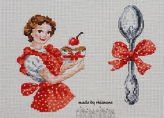 0 point de croix femme avec cupcake & cuillere - cross stitch woman, lady with cupcake and a spoon - vintage Cross Stitching, Cross Stitch Embroidery, Cross Stitch Patterns, Boat Crafts, Cross Stitch Kitchen, Needle And Thread, Crochet, Tatting, Needlework
