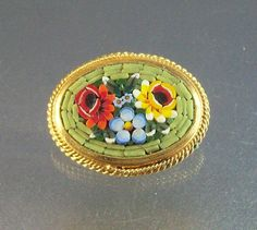 Vintage Micro Mosaic Brooch Oval Shape Italy by LynnHislopJewels  - similar to my silver mosaic bracelet