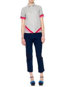 Grey Melange Cotton Pipe Shirt   Folk   Avenue32