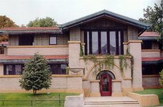 "Dana Thomas House -   One of the best-preserved examples of Wright's Prairie-style architecture, the Dana Thomas House in Springfield, Ill., contains more than 100 pieces of original Wright furniture and hundreds of art glass doors, windows and light fixtures. Constructed between 1902 and 1904, it was Wright's first ""blank check"" commission and his largest home at the time, with 12,000 square feet and 35 rooms."