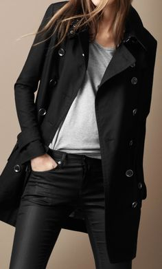 Burberry zip detail trench coat... a really great polished casual look.
