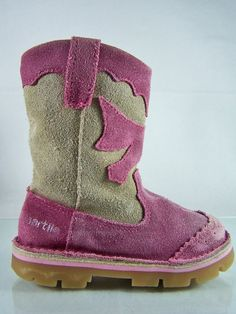 #Naartjie 100% #genuine #soft #suede #leather #fuchsia #magenta #pink #purple and #gray #boots #shoes with #cowgirl #western styling, full cream/off-white/ivory fabric lining, scalloped edging, reinforced toe and heel, silver imprinting and orange/tan man-made synthetic rubber bottoms in #kids #girls #youth size 8, excellent used condition…