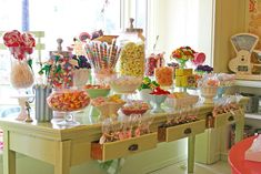 Graduation candy bar using a vintage desk.