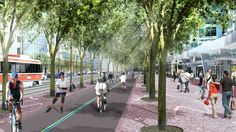 A broad granite pedestrian promenade with a double row of trees alongside a new stretch of Martin Goodman Trail.