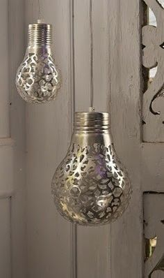 Cover a light bulb with a doily and spray paint it. The light will shine the pattern onto the walls. (however these pics don't look like a DIY..would this even work? who knows..)